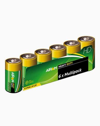 Airam Heavy Duty Plus R20 (D) 1,5V batterier 6-pakke