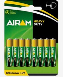 Airam Heavy Duty Plus R03 (AAA) batterier 8-pakke