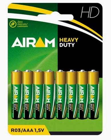 Airam Heavy Duty Plus R03 (AAA) batterier 8-pakke