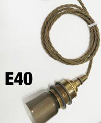 2m flätad brun textilsladd och E40 sockel i Råmässing