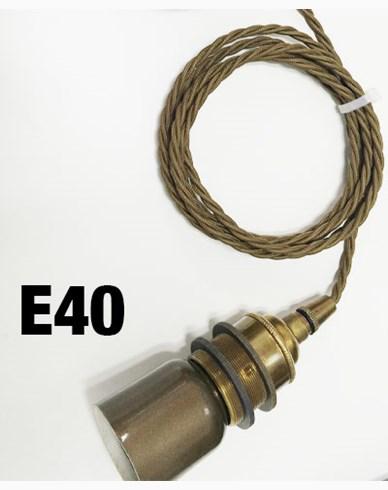 Messinglampe med 2m flettet brun tekstilledning og E40 sokkel