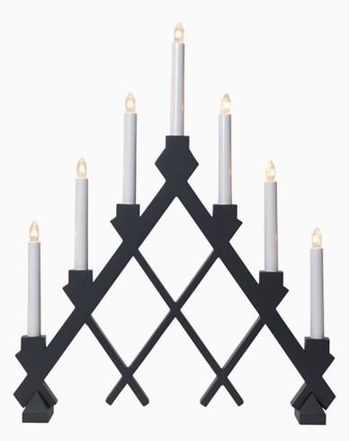 Star Trading Grå tre-lysestake Rut med rutemønster