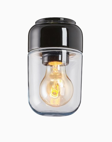 Ifö Electric Ohm 100 bastu höjd 170 mm svart klarglas IP44 E27 40W tak-/väggmontage