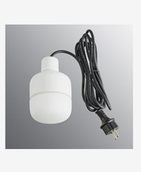 Ifö Electric Ohm Pendel Utendørs 100 høyde 155 mm, matt hvit opal glass 3m svart gummi kabel med støpsel, IP44, G9, 20W