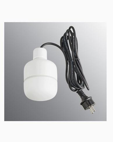 Ifö Electric Ohm Pendel Outdoor 100 höjd 155 mm, vit matt opalglas 3m svart gummikabel med stickpropp, IP44, G9, 20W