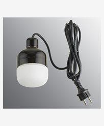 Ifö Electric Ohm Pendel Utendørs 100 høyde 155 mm, matt svart opal glass 3m svart gummi kabel med støpsel, IP44, G9, 20W