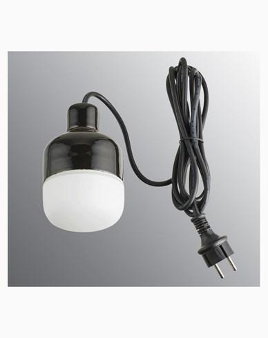 Ifö Electric Ohm Pendel Outdoor 100 höjd 155 mm, svart matt opalglas 3m svart gummikabel med stickpropp, IP44, G9, 20W