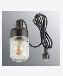 Ifö Electric Ohm anheng Utendørs 100 høyde 215 mm, svart klart glass 3m svart gummi kabel med støpsel, IP44, E27, 40W