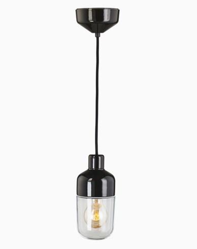 Ifö Electric Ohm Pendel 100 høyde 215 mm, klart glass sort sokkel / 2m svart tekstilkabel, IP44, E27, 40W