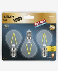 Airam LED Filament Krone/illum-pære 2,6W E14 3-p