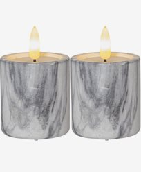 Star Trading LED Blokklys 2-pakke Flamme Marble 9cm