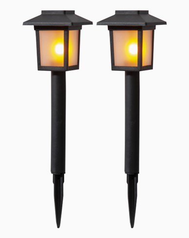 Star Trading Solcells-pollare 2-p Flame Mini