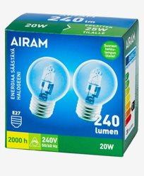 Airam Halogenlampa ES Klot P45 20W E27 2-pack