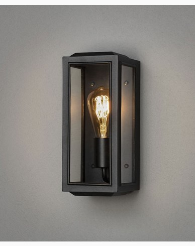 Konstsmide Carpi vägglykta svart small klarglas E27