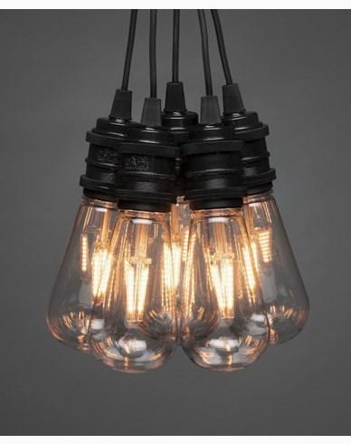 Konstsmide Slinga E27 10 amber utbytbara LED svart dim 24V/IP44