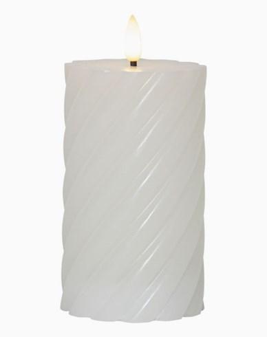 Star Trading LED Blokklys Flamme Swirl, 15 cm Hvit