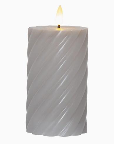 Star Trading LED Blockljus Flamme Swirl, 15 cm. Grå