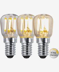 Star Trading LED-päronlampa E14 Klar, 3-stegs dim. RA90