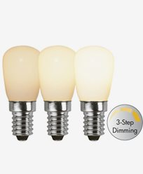 Star Trading LED-päronlampa E14 Opal, 3-stegs dim. RA90
