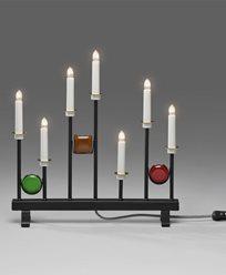 Elljusstake 7 ljus svart metall med flerfärgade dekorationer 24V/IP20