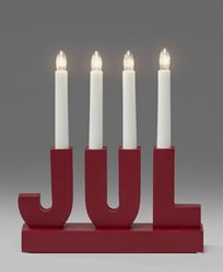 Elljusstake 4 ljus JUL trä röd 230V