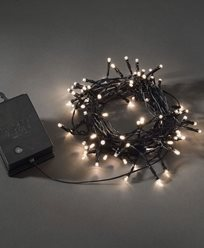 Lysløkke 80vv LED skumringsrelé / timer 6 / 9h svart kabel. Batteridrevet, 2xLR20