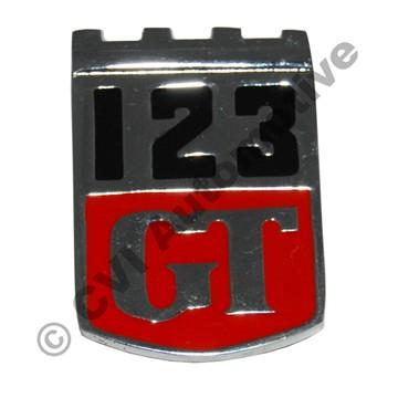 """123 GT"" shield badge"