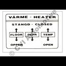 Sticker, heater control P1800
