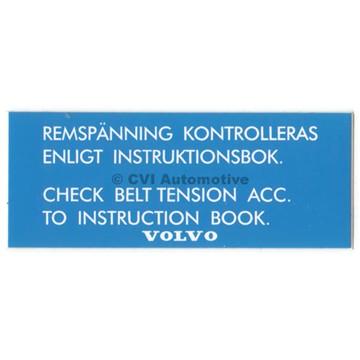 Dekal, Remspänning kontrollera (på ventilkåpa B20)