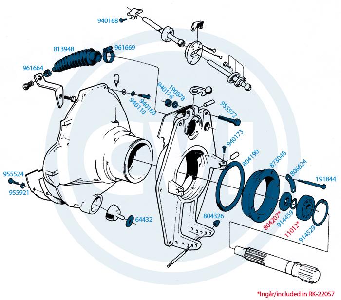 1.) Svänghjulskåpa AQ95, AQ110