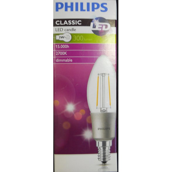 Philips 3W (25W) 300Lm 2700K Classic * Candle E14 Dimbar 15000Tim 8292295