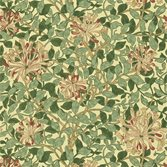 Morris & Co Honeysuckle Tapet Green/Coral Pink