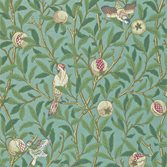Morris & Co Bird and Pomegranate - Turquoise/Coral