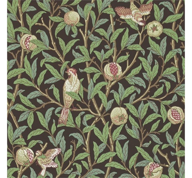 Morris & Co Bird and Pomegranate Charcoal/Sage