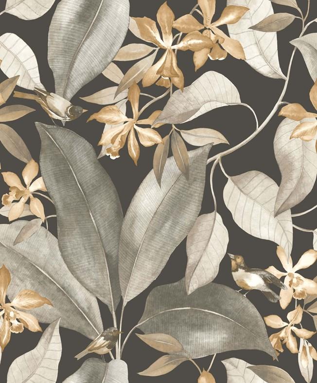 Casadeco Delicacy Birdsong Noir/Taupe