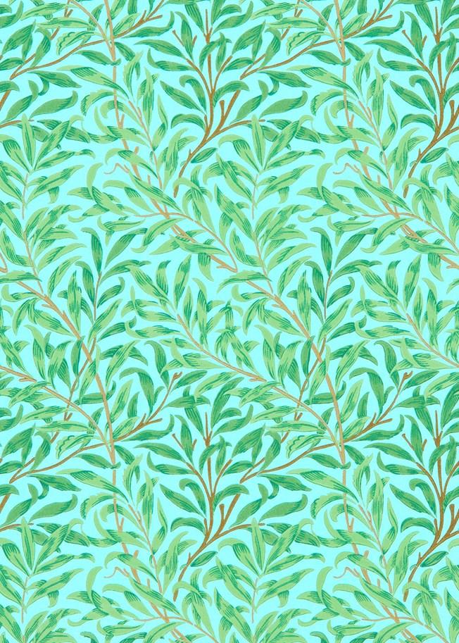 Morris & Co Willow Bough Sky Leaf Green tapet