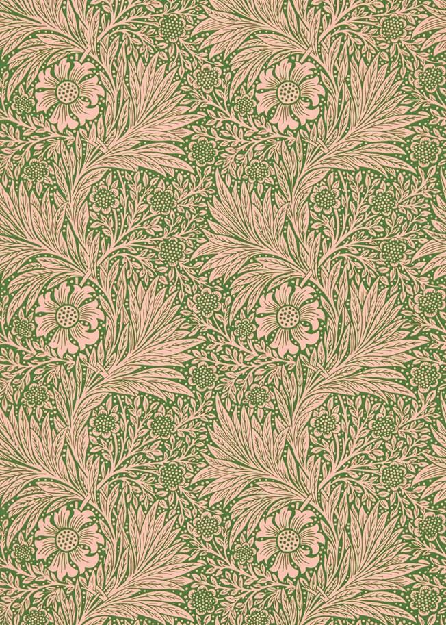 Morris & Co Marigold Pink Olive tapet