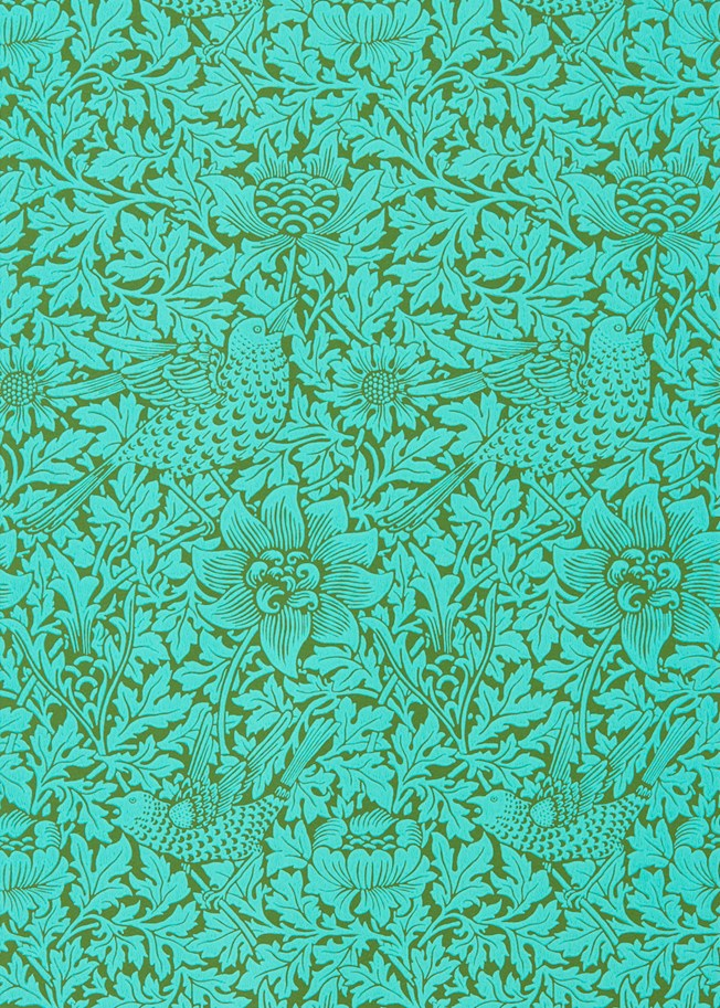 Morris & Co Bird & Anemone Olive Turquoise tapet