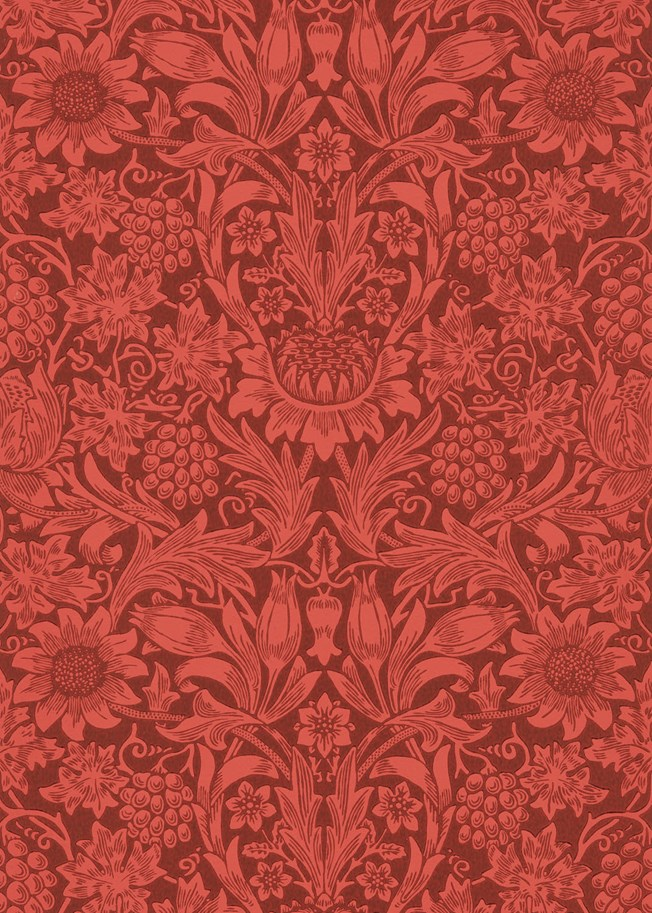 Morris & Co Sunflower Chocolate Red tapet