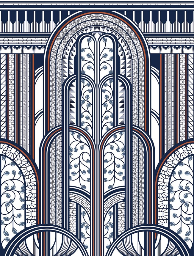 Casadeco Panoramic Blue/Copper