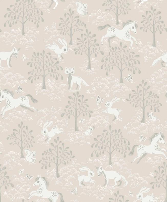 Littlephant Fairytale fox - Dusty pink tapet