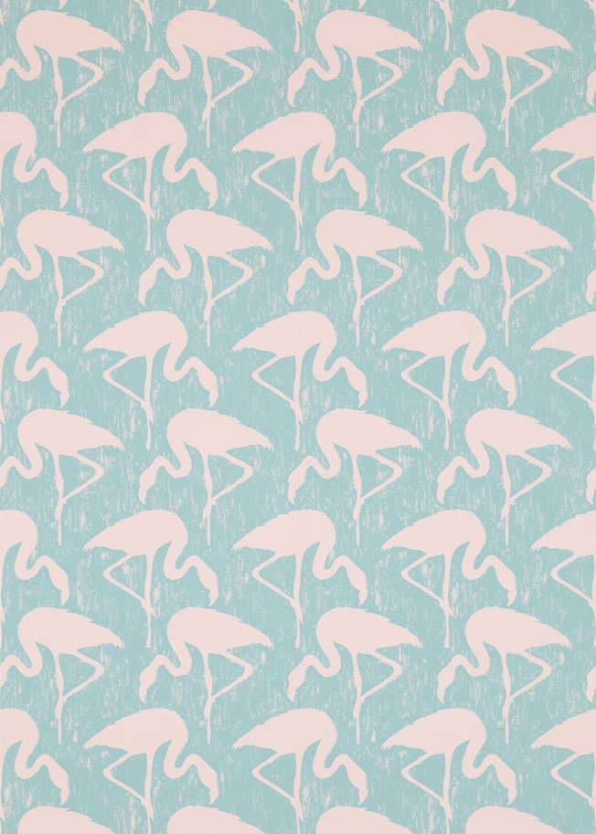 Sanderson Flamingos Turquoise Pink tapet