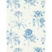 Sanderson Etchings & Roses China Blue tapet