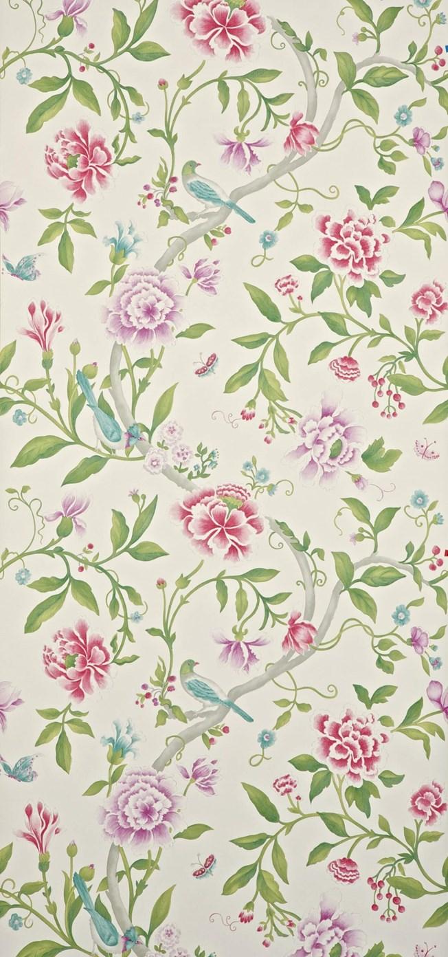 Sanderson Porcelain Garden Magenta/Leaf tapet