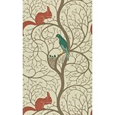 Sanderson Squirrel & Dove Teal/Red tapet