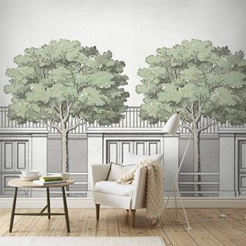 Tapeter med grönska och träd