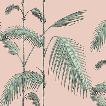 Trendigt rosa tapet Palm leaves med palmblad från Cole & Son