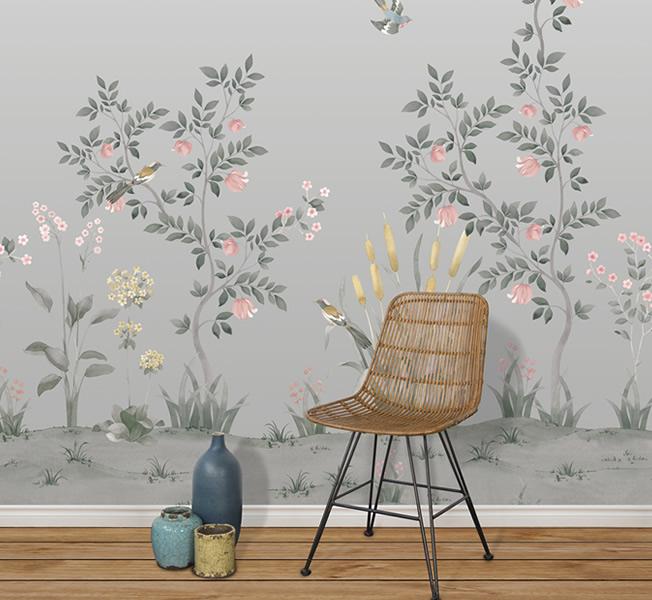Klassisk tapet med blommor