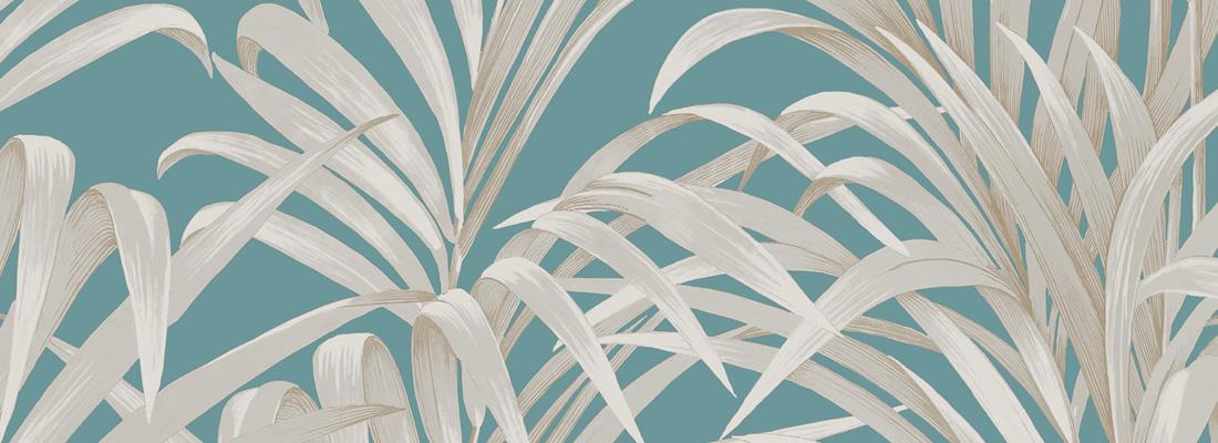 Turkos tapet med palmblad - Vegetal - Från Casadeco