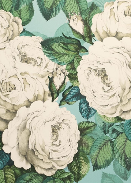 Turkos tapet med blommor - The Rose - Från John Derian
